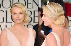 Love Charlize Theron's hair at the Golden Globes- wavy & swept to the side in a loose bun with a sparkly headband.