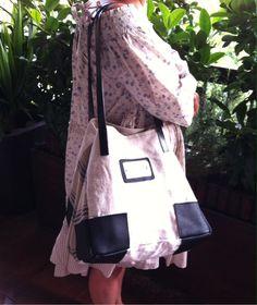 Grand sac porté épaule chanvre et cuir noir : Sacs à main par realisa