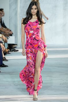 Great print and great palette -- pink, vibrant orange, white, deep wine. Diane von Furstenberg 2015 RTW. #nyfw #DianevonFurstenberg #spring2015