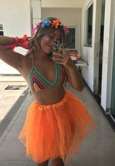 Orange isn't my color, but still cute tho. Rave Festival, Festival Looks, Festival Wear, Festival Outfits, Festival Fashion, Halloween Outfits, Halloween Costumes, Fancy Dress, Dress Up