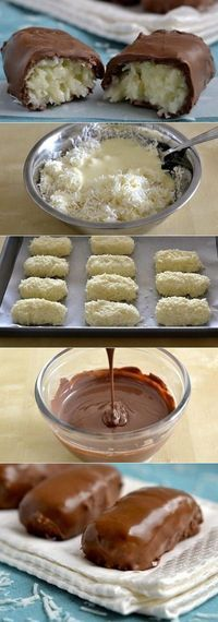 Bounty sweets in 20 minutes: Ingredients: 2 pcs - Delicious recipes Candy Recipes, Sweet Recipes, Dessert Recipes, Confectionery Recipe, Good Food, Yummy Food, Russian Recipes, Arabic Food, Delicious Desserts