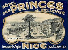 Nice France Hotel Des Princes Et Bellevue Amazing Scarce Old Luggage Label | eBay
