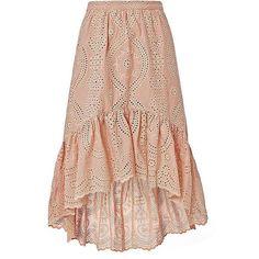 LOVESHACKFANCY Women's Pam High-Low Eyelet Skirt ($295) ❤ liked on Polyvore featuring skirts, loveshackfancy, high low skirt, short front long back skirt, short in front long in back skirt and embroidered skirt