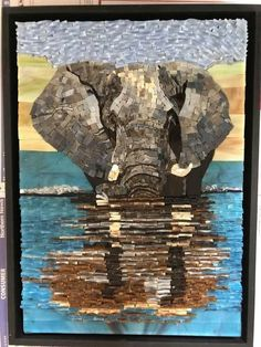 Karin Stanford Mosaic Diy, Mosaic Glass, Stained Glass, Elephant Quilts Pattern, Elephant Tapestry, Quilt Patterns, Mosaic Animals, Animal Quilts, Landscape Quilts