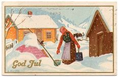 G.Elind Winter Illustration, Christmas Cards, Christmas Postcards, Norway, Auction, Manga, Painting, Illustrations, Gray