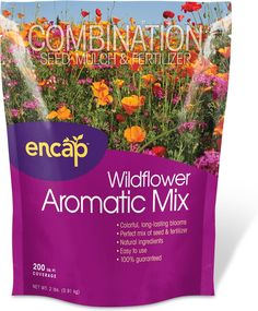 This all-in-one formula of mulch, seed, and fertilizer is all you need to be on your way to a garden of plentiful, great smelling wildflowers. Just sprinkle and grow! http://www.encap.net/wildflower-aromatic-mix #garden #flowers
