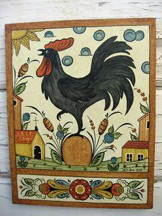 "Swedish Canvas Wall Hanging Folk Art ""Bonads"" Sweden's rosemaling Dala Rooster"