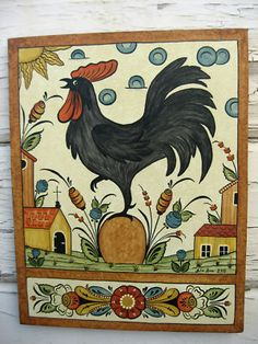 "Swedish Canvas Wall Hanging Folk Art ""Bonads"" Sweden's rosemaling Dala Rooster"