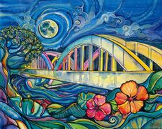 rainbow bridge, haleiwa, hawaii, colleen wilcox art