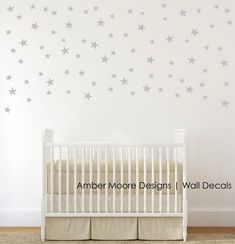 Silver Stars Wall Decals - Confetti Silver Star Decals- Silver Wall Decal Stickers - Set of 110 Stars
