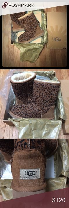 UGG Leopard print boots comes with box UGG Leopard print boots. Super cute. Worn less than 3 times. Still have receipt. They sticking kinda of looks like it's fraying as shown in last pic, but I took them in when I bought them & they said that's how it's supposed to look, it's not from wear. They have been waterproofed. I just have too many UGGs UGG Shoes
