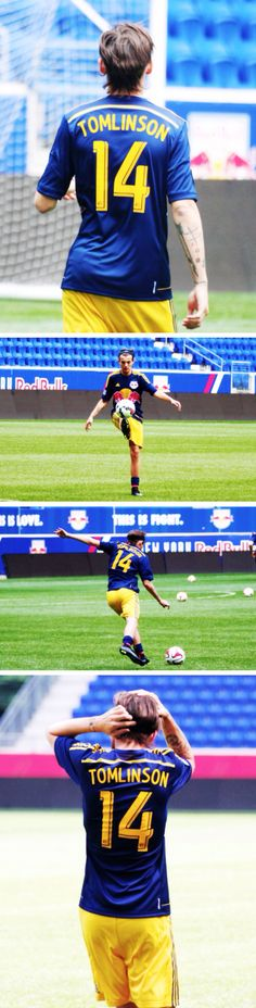 Louis Tomlinson. Every guy looks good in soccer shorts, but Louis Tomlinson seems to make them look better.