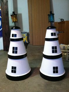 fun to make but very nerve-racking. It is made of inverted clay pots . Clay Pot Projects, Clay Pot Crafts, Diy Clay, Diy Crafts, Garden Crafts, Flower Pot Crafts, Flower Pots, Clay Pot Lighthouse, Lighthouse Craft