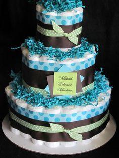 Baby Boy Diaper Cakes | Baby Boy Diaper Cake Baby Shower Centerpiece by Baby2BNashville
