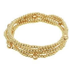 The 14K Gold plated or Sterling Silver Beaded Bracelet is a three in one. A beaded wrap bracelet that wraps five times around your wrist and a necklace that can be worn long or doubled. The 3mm beads are accented by a 6mm bead placed around the necklace. A perfect piece to bring on vacation or any trip because it can change with your outfits. They are strung on an elastic chord which makes it one size fits all and no clasps to get in the way. Great gift for the woman on the go.