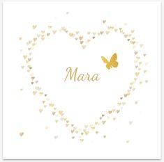 4dec8668d7e Mooi stijlvol rouwkaartje voor baby en kind met goudkleurige confetti van  hartjes in een hartvorm en