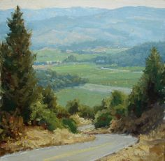Down the Grade to Napa by Kathleen Dunphy Oil ~ 12 x 12
