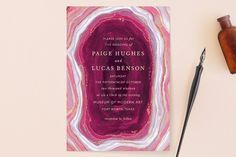 """""""Gilt Agate"""" - Abstract Wedding Invitations in Navy by Kaydi Bishop."""