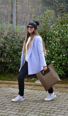 gherardini bag - baby blue coat- black jeans - adidas stan smith - prada sunglasses