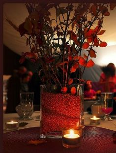 fall wedding candle centerpieces
