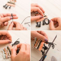 Learn How to Make a Woven Necklace Using a DIY Loom via Brit + Co
