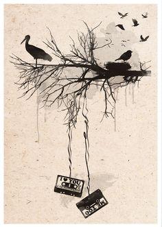 Birds Tapes Art Print - Retro watercolour effect - Different sizes - Street Art Cassetes Home Decor Poster. #2toastdesign #casettes #birds #love #print #wallart #poster
