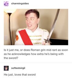 """i dunno if this is the bit in question but i love that a blooper real reveals when he says something bout fighting someone with his bare hands """". and this sword"""", thomas laughs at the joke but they used that take anyway. Thomas And His Friends, Thomas Sanders, Sander Sides, Tyler Oakley, Deceit, Dan And Phil, Youtubers, I Laughed, Fangirl"""