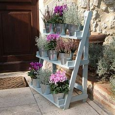 Three Tier Herb And Plant Theatre With Zinc Pot Set wooden plant 'theater' could be cuter still w/holes to sink pots or pails a bit Back Gardens, Small Gardens, Outdoor Gardens, Plant Theatre, Set Theatre, Garden Pictures, Garden Planters, Garden Bed, Wall Planters