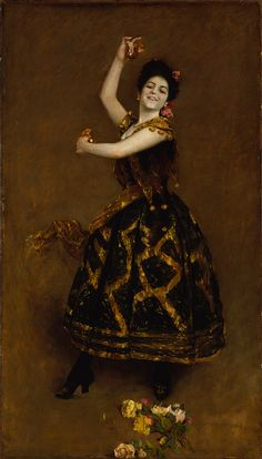 "William Merritt Chase, (American, 1849–1916). Carmencita, 1890. Gift of Sir William Van Horne, 1906 (06.969) | Carmencita, the dancer known as ""The Pearl of Seville,"" made her New York debut in 1889 and was besieged with requests for private performances. John Singer Sargent arranged for her to perform in Chase's Tenth Street studio on April 1, 1890. After this memorable recital, Chase painted this lively portrait of her, showing her in motion as she clicks her castanets in her hands. #dance"