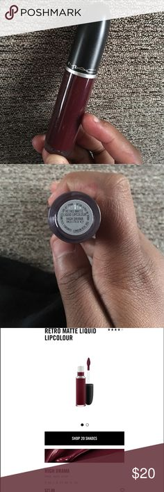 Mac Retro Matte Liquid LipColour - High Drama BNWOB. Used once for my wedding. It's been sanitized and is 100% authentic. Example picture I found off of google, it is not mine. All credit to the owner. Extremely beautiful Maroon color, PERFECT For the holiday season! Dries completely matte, but remains comfortable. It's longwearing, and I really love it but I don't need it in my collection. MAC Cosmetics Makeup Lipstick