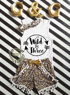 Wild and Three Leopard Print Glitter 3rd Birthday Pom Pom Shorts Outfits