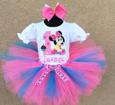 Baby Minnie Mouse Pink Blue Cupcake Birthday Tutu Set