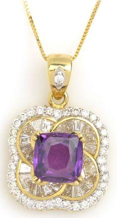 Precious Purple Sapphire & Diamond Pendant Item #304-54816 2.40 ct Natural Non-heat Purple Sapphire Mixed Cut Cushion & 1.11 ctw Diamond Baguette & Round 18K Yellow Gold Pendant Chain Tgl Lab Report Length 18