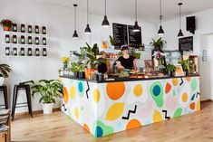 """Brand Identity for Mahlo Bar by Gabby Lord """"Mahlo is serious about brunch, while not taking themselves too seriously. We created a fun and quirky identity which extended as far as coffee packaging, copywriting, mural painting and everything in. Restaurant Berlin, Bar Restaurant Design, Cafe Moka, Layout, Cafe Interior, Interior Design, Design Interiors, Brunch Cafe, Architecture Restaurant"""