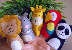 Zoo Jungle animals finger felt puppets by FamilyCraft45 on Etsy, $23.00