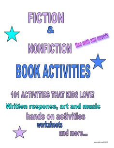 """FREE LANGUAGE ARTS LESSON - """"101 Book Activities Kids Love!"""" - Go to The Best of Teacher Entrepreneurs for this and hundreds of free lessons.   3rd - 7th Grade  #FreeLesson   #LanguageArts   http://www.thebestofteacherentrepreneurs.net/2012/10/free-language-arts-lesson-101-book.html"""