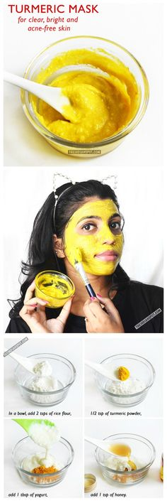 DIY: tumeric mask for clear bright & acne-free skin #do it yourself #beauty #acneface