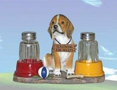 Beagle Salt & Pepper Shaker Set Add Character to Your Home by DWK. $14.03. Unique. Actually Usable. Glass Shakers. Kitchen Set. Great Gift. Limited Edition! This adorable Dog Salt & Pepper Shaker Set makes a wonderful gift or a beautiful addition to your own figurine Collection. Fine quality, hand painted and made of cold cast resin with glass salt & pepper shakers.. Save 53% Off!