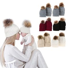 6fc95698de9 Winter Mom Baby Raccoon Fur Bobble Beanie Cotton Knitted Parent-Child Hat