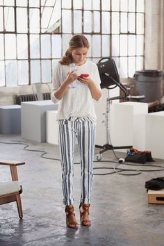 | Pinterest: •❂ TribalModa | • Olivia Palermo • strips • blue and white striped jeans • fashion • style • ootd • outfits • outfit • vertical stripes pants • trousers •