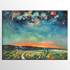 Abstract Landscape Oil Painting, Starry Night Sky Painting, Custom Large Canvas Painting, Heavy Texture Painting - artworkcanvas Original Oil Painting, Landscape Paintings, Hand Painting Art, Green Paintings, Sky Painting, Oil Painting Landscape, Large Abstract Painting, Night Sky Painting, Large Canvas Painting