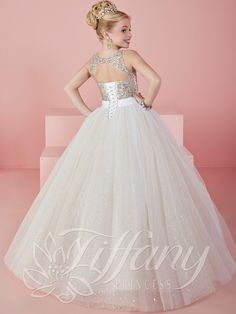 Tiffany Princess 13476 Illusion Jewel Neckline Pageant Dress