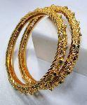 22 K solid gold filigree work bangles f bracelet pair