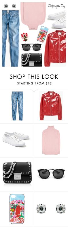 """""""Outfit of the Day"""" by dressedbyrose ❤ liked on Polyvore featuring J.Crew, MANGO, Lacoste, Tomas Maier, MICHAEL Michael Kors, Prada, Kate Spade, Monet, Petit Bateau and ootd"""