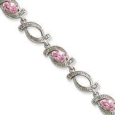 Sterling Silver 7.5inch Pink CZ Bracelet - Box Clasp - JewelryWeb JewelryWeb. $63.70. Save 50%!