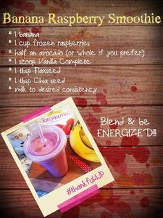 Banana Raspberry Smoothie:this recipe uses the amazing Juice Plus Complete protein shake mix... which packs the punch of 25 whole foods with plant based nutrition : 13 g protein, 8 g fiber, all natural  sweetener, low glycemic, gluten free, non-dairy, 100% vegan; no artificial flavoring, preservatives, or coloring rachelluciani.juiceplus.com