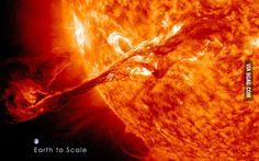 Earth compared to a solar flare.