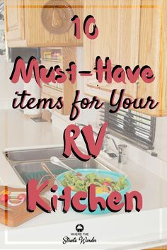 Cooking in a small space can be challenging. But shopping for new spacing saving gadgets can be fun! These 10 must-have items for your RV kitchen are things I can't live without. We have been living full-time in our RV for the past year and these items Rv Camping Checklist, Camping Ideas, Camping Recipes, Camping Essentials, Camper Hacks, Rv Hacks, Small Rv, Small Spaces, Camper Storage
