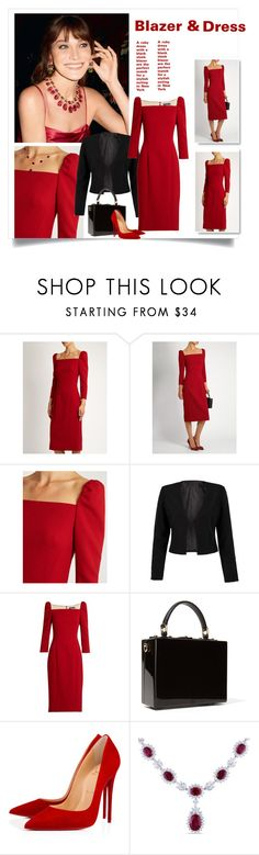 """""""Red Dress Black Bag"""" by danewhite ❤ liked on Polyvore featuring Bulgari, Dolce&Gabbana, WithChic, Christian Louboutin and Miadora"""