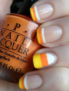 Candy corn nails! Cute for Halloween/Fall! I wanted to do this, but my nails were way too short. I have baby thin nails..